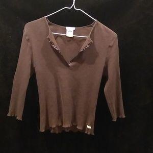 Brown Juniors Large 3/4 Sleeves Shirt